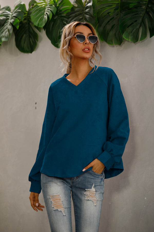 Casual V Neck Long Sleeve Top