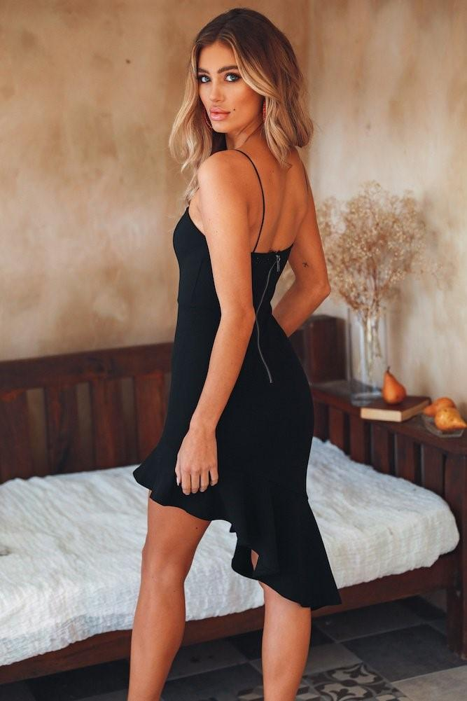 Black Asymmetrical Hem Sexy Summer Dress - Landing Closet