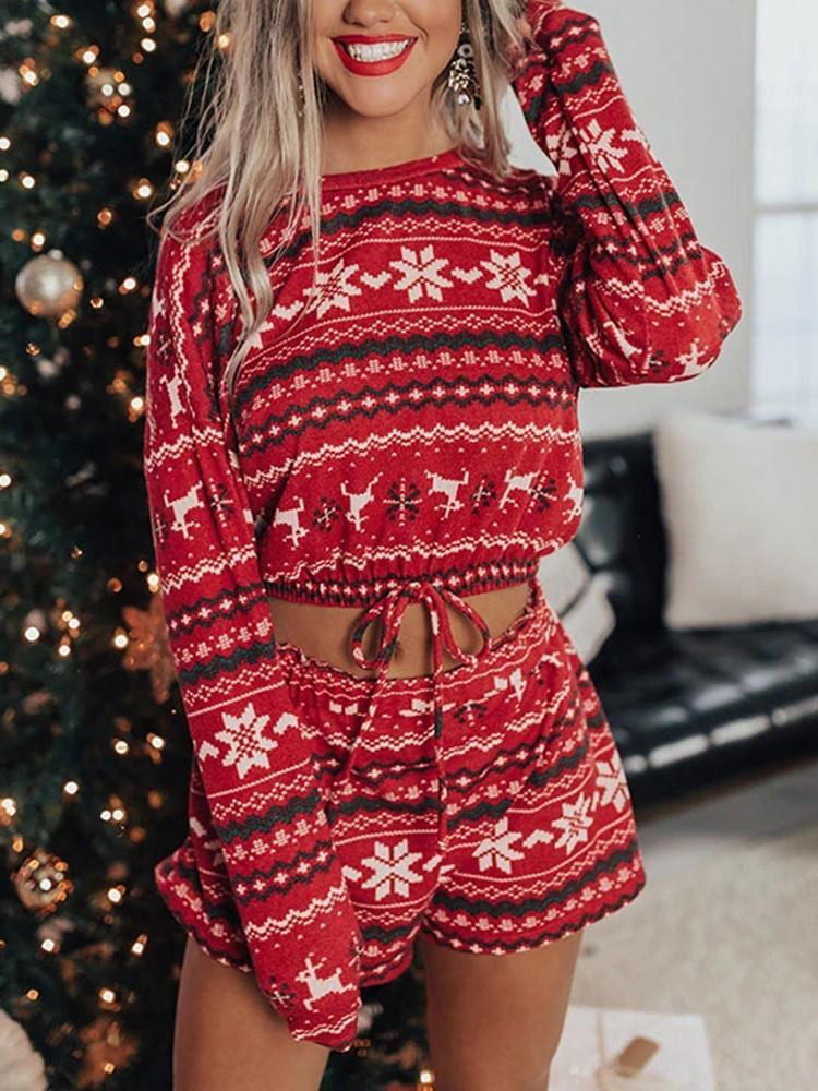 Christmas Printed Home Wear Two-piece