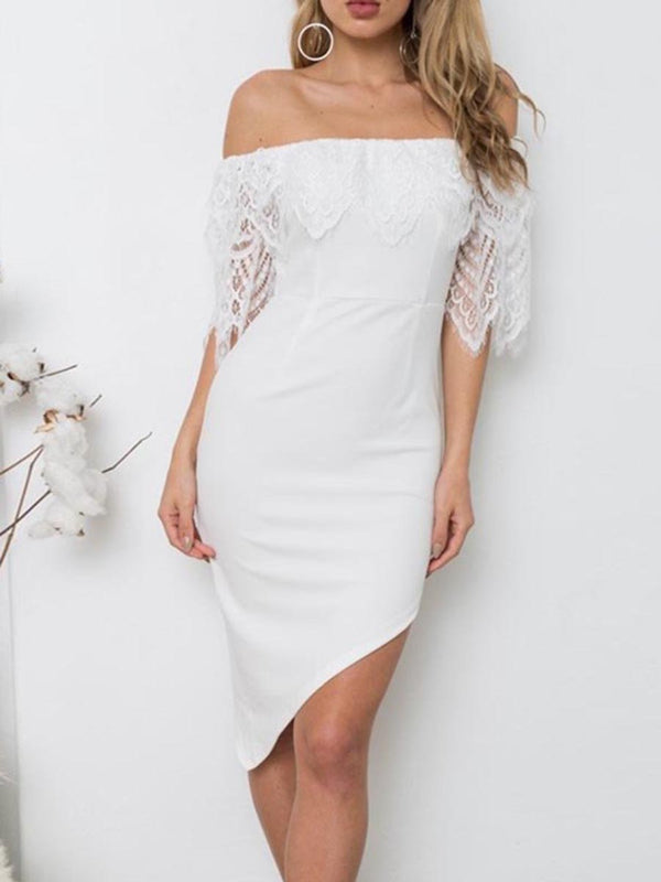 Lace Off The Shoulder Half Sleeves Dress - Landing Closet