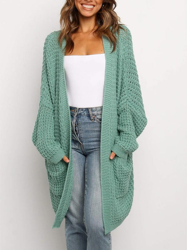Loose Solid Color Pocket Cardigan