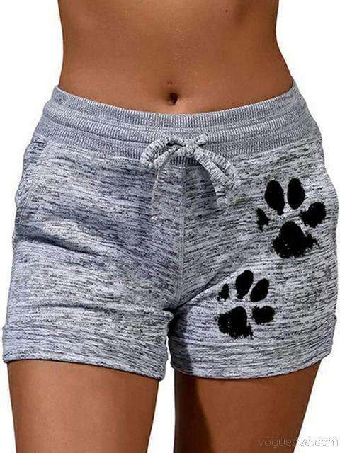 Casual Yoga Cat Paw Print Shorts