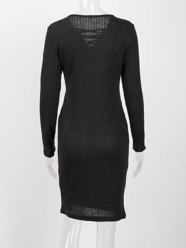 Long Sleeves V-neck Bodycon Midi Dress