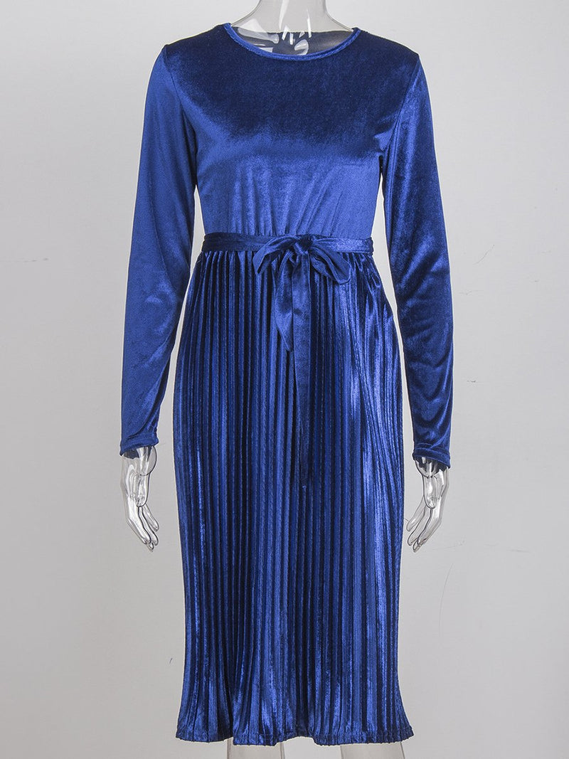 Round Neck Pleated Long Sleeves Belt Maxi Dress