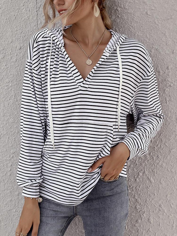 Striped Pocket Drawstring Loose Hoodie