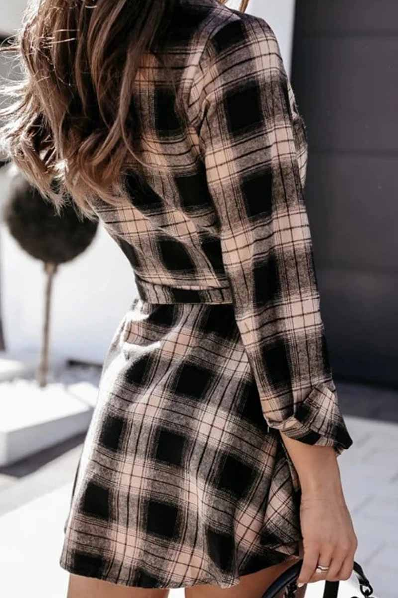 Long Sleeve Plaid Shirt Mini Dress