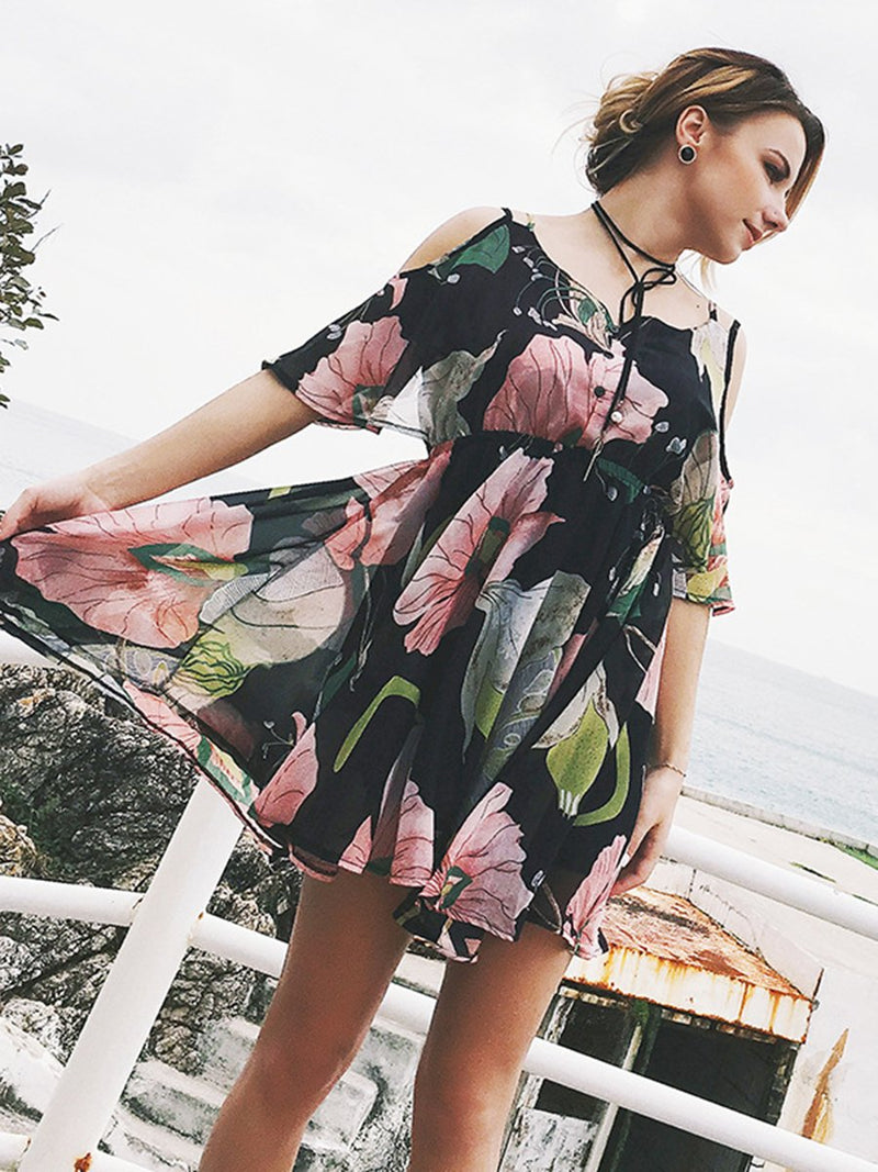 Lace Floral Printed Short Sleeve Mini Dress