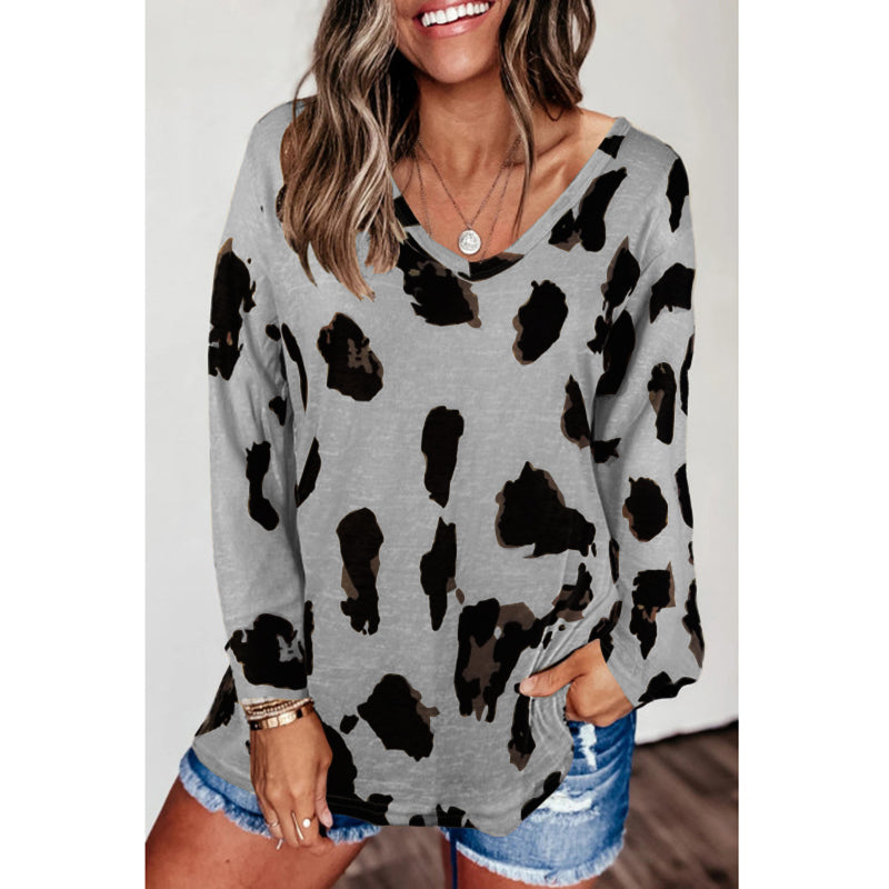 V Neck Long Sleeve T-Shirt Casual Basic Tops