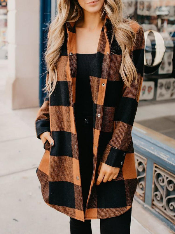 Plaid Pocket Snap Button Coat