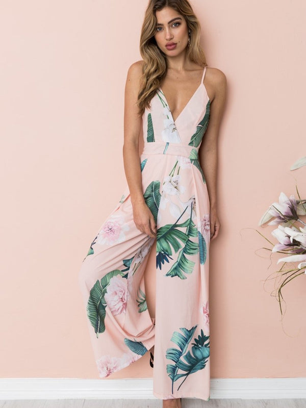 Straps Deep V-neck Backless Stripes Floral Loose Jumpsuit