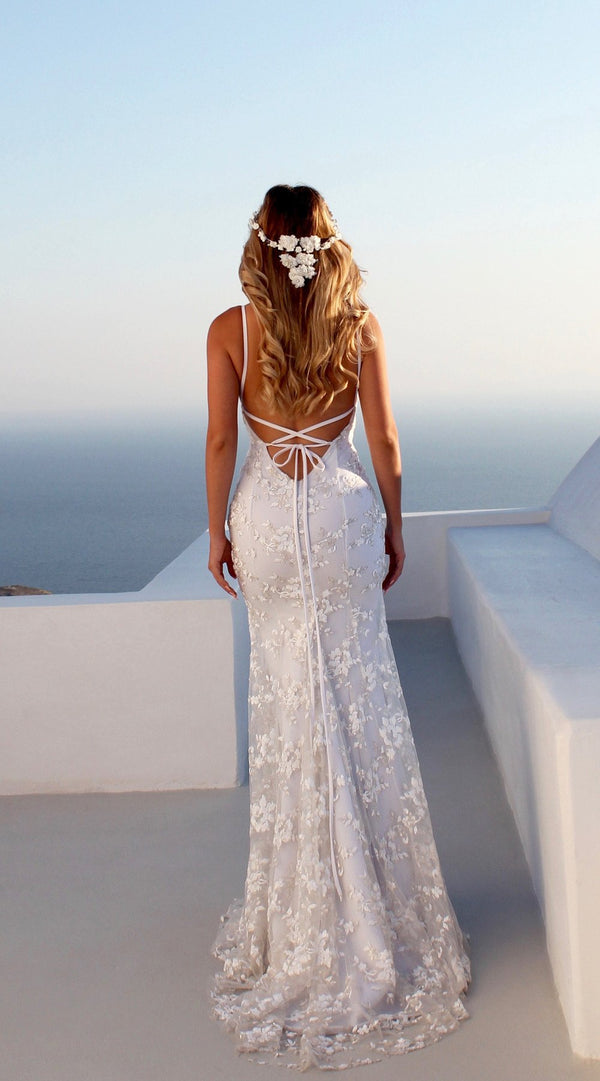 Spaghetti Strap V Neck Chiffon Lace Wedding Maxi Dress