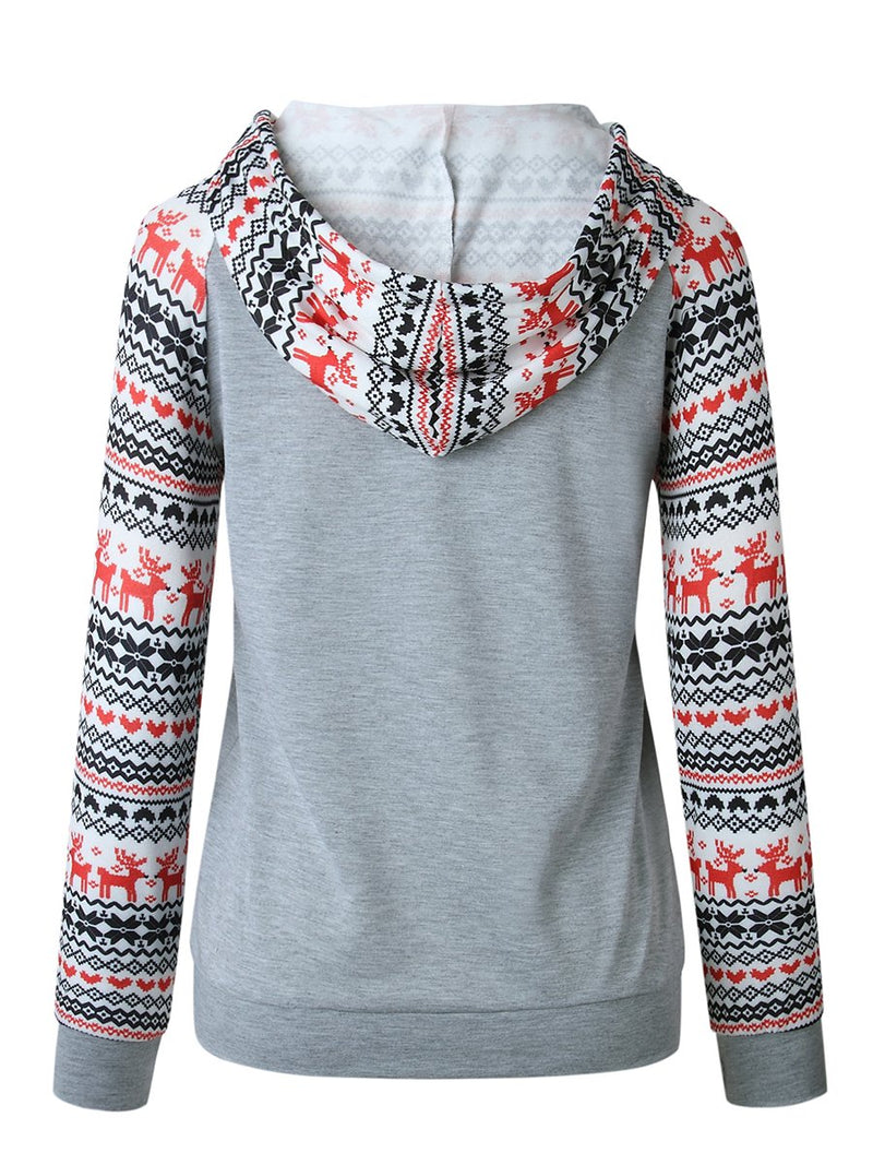 Printed Hooded Long Sleeves Sweater Pullover