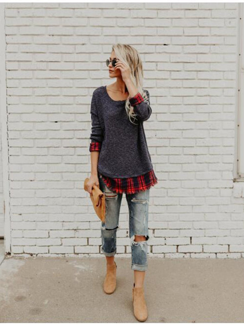 Stitching Plaid Round Neck Long Sleeves T-shirt