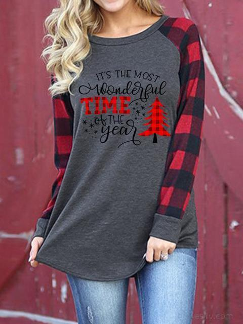 Christmas Pattern Long Sleeve Oversized T-shirt