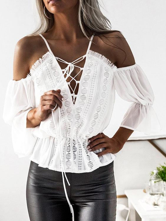 White Lace-up Details Cold Shoulder Tight Waist Blouses