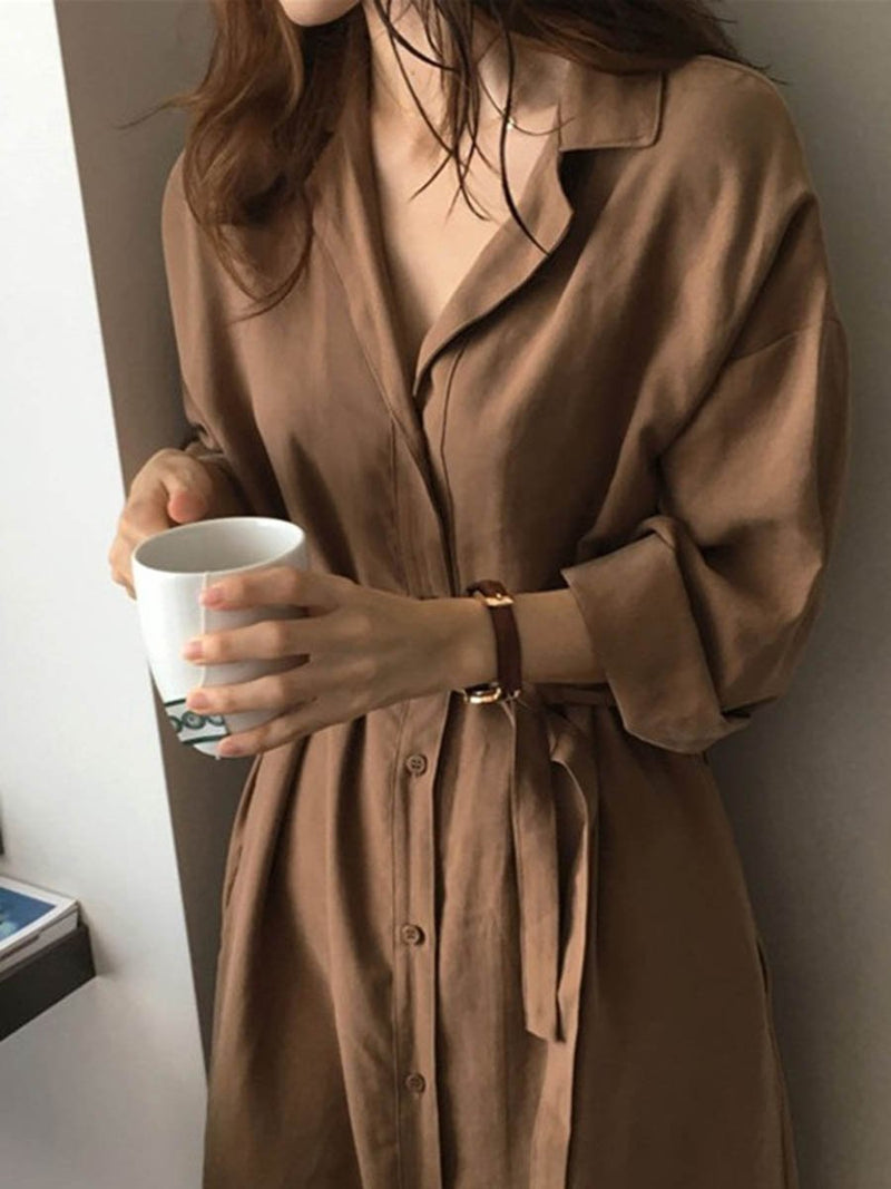 Long Sleeve Plain Belt T-shirt Coat