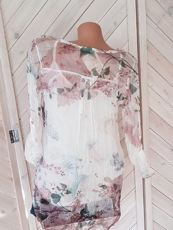 Floral Breeze V-neck Buttons Long Sleeves Shirt Top
