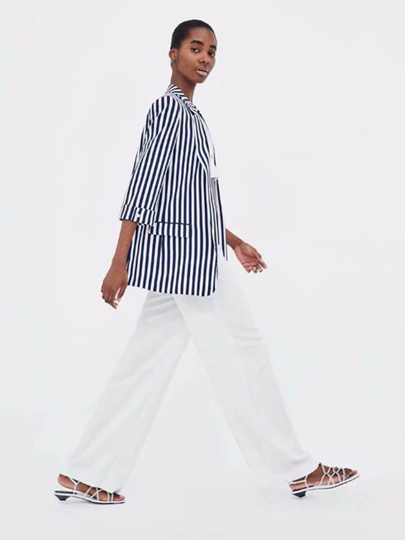 Cozy Striped Casual Suit Top - Landing Closet