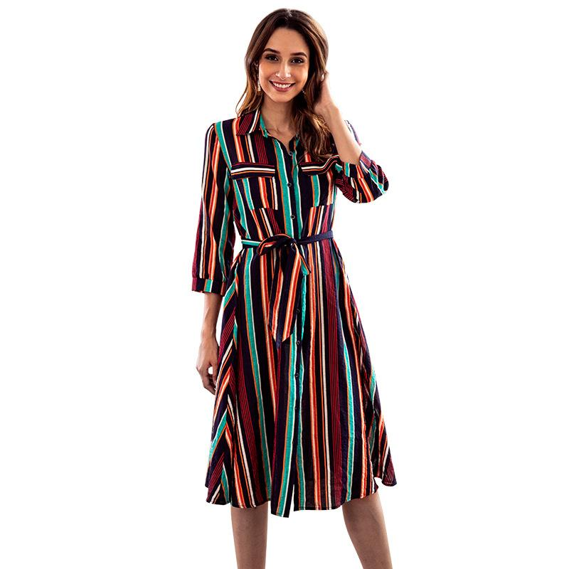 Blue Colorful Striped Print Crew Neck Dress - Landing Closet