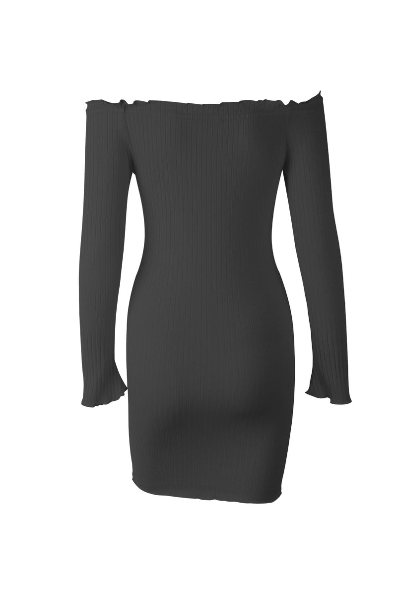 Off Shoulder Long Sleeve Bodycon Mini Dress