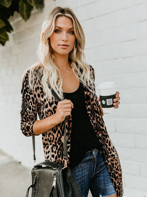 V-neck Long Sleeves Leopard Printed Button Blouse Top