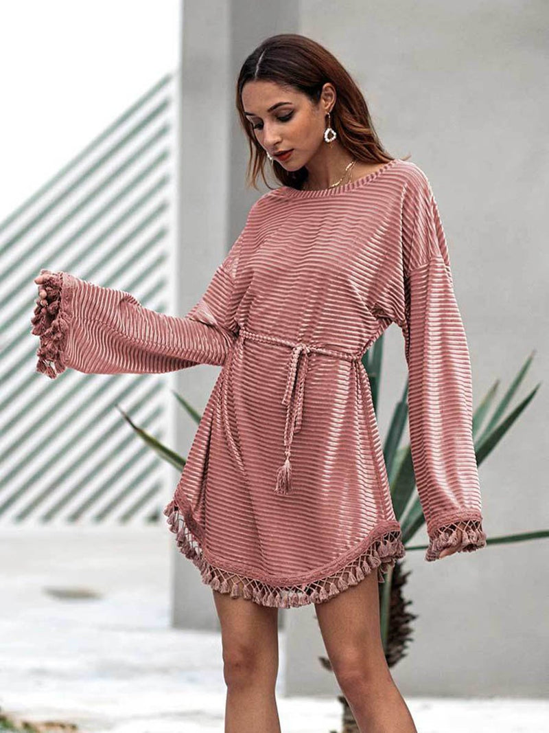 Tassel Round Neck Plain Mini Dress