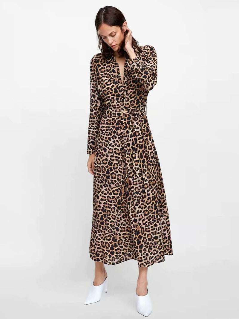 Leopard Printed Long Sleeves Maxi Dress