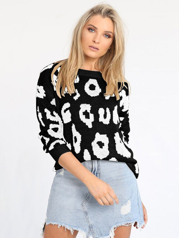 Long Sleeve Leopard Round Neck Sweater