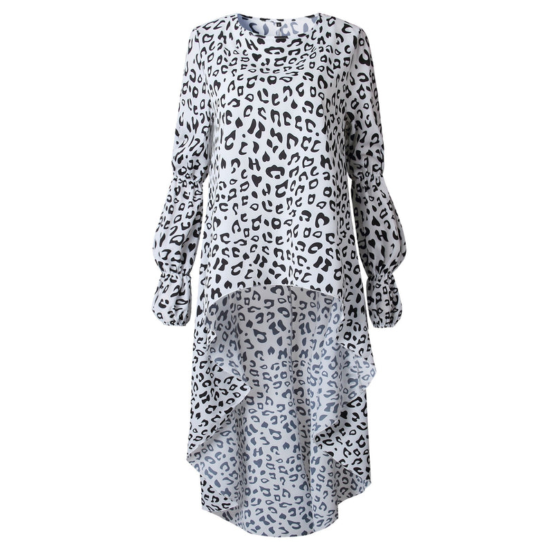 Leopard Printed Long Sleeves Irregular Hem Top T-shirt
