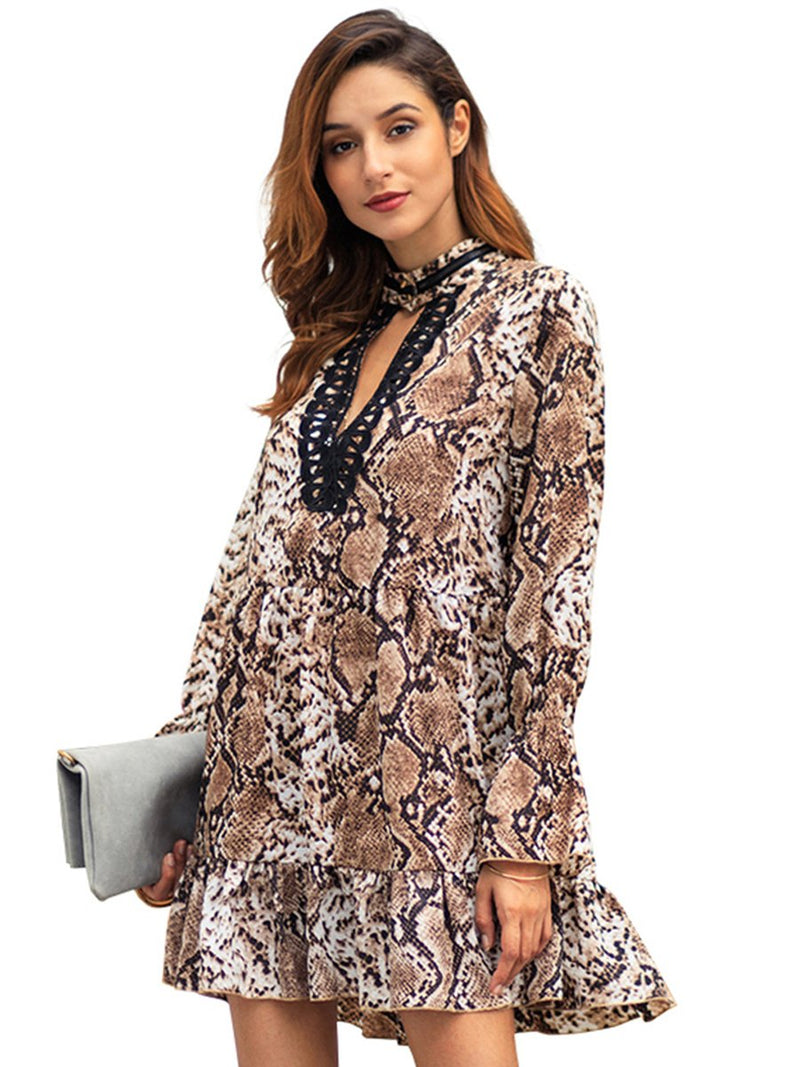 Deep V-neck Leopard Printed Long Sleeves Mini Dress - Landing Closet