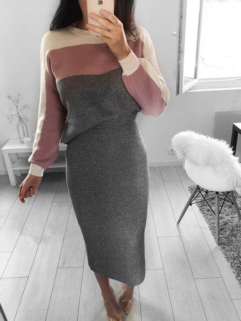 Crew-neck Long Sleeves Stitching Bodycon Dress - Landing Closet