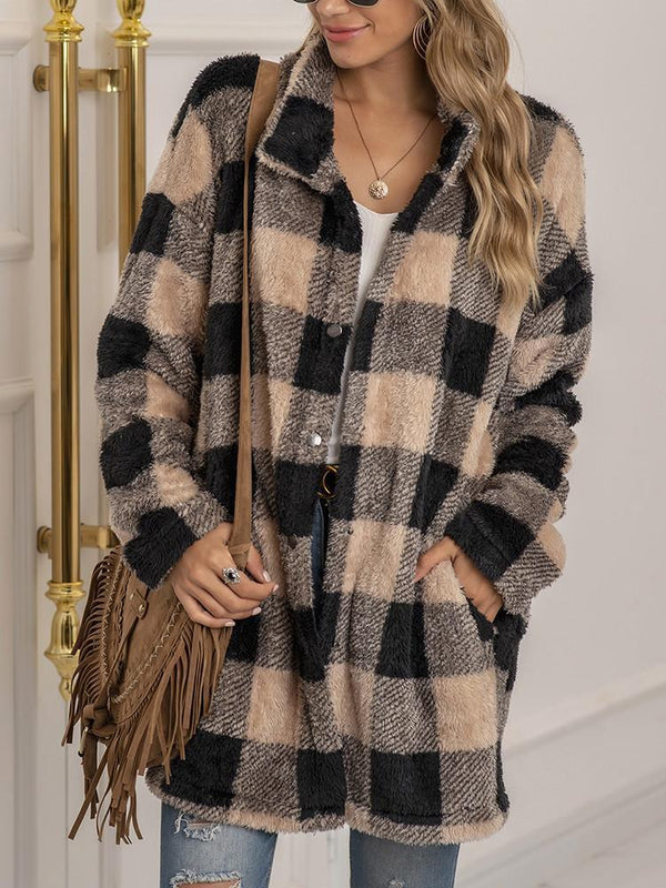 Plush Plaid Lapel Button Loose Coat