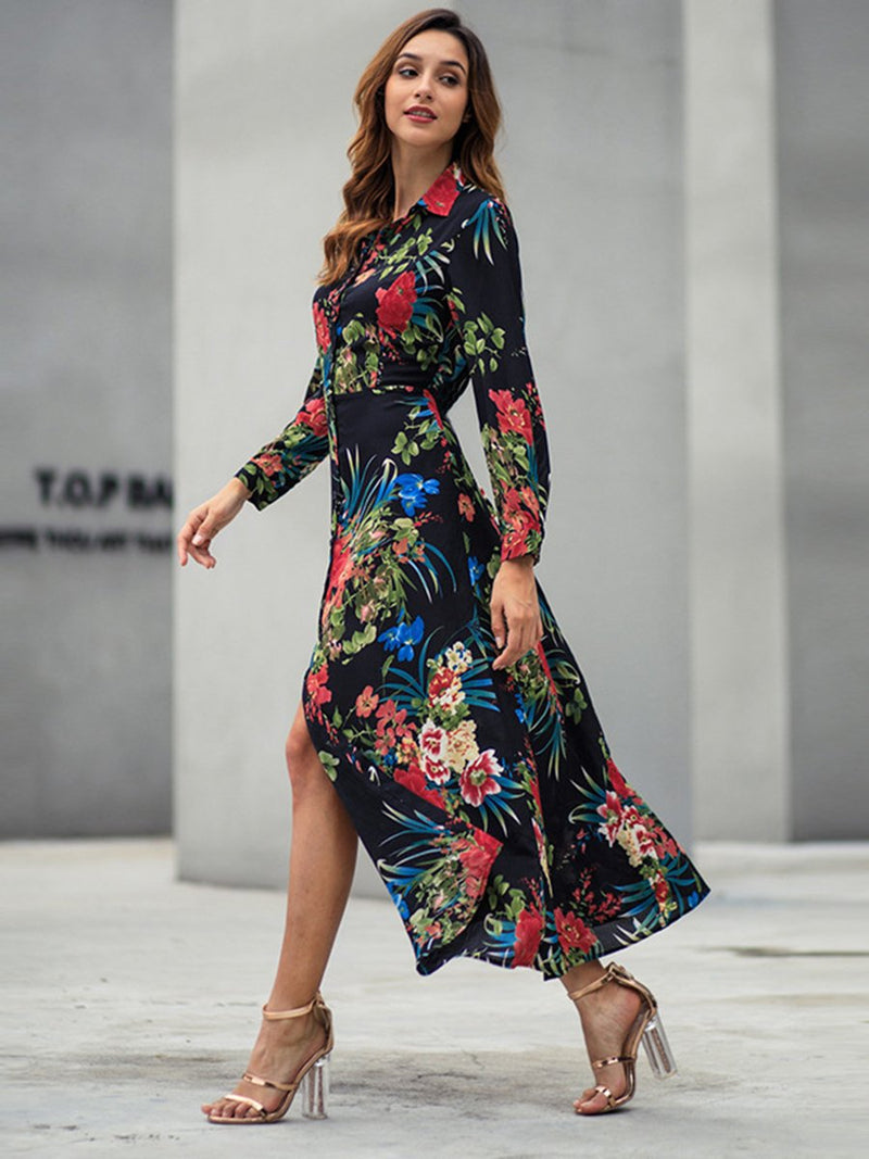 Floral Printed Long Sleeves Front Slit Maxi Dress