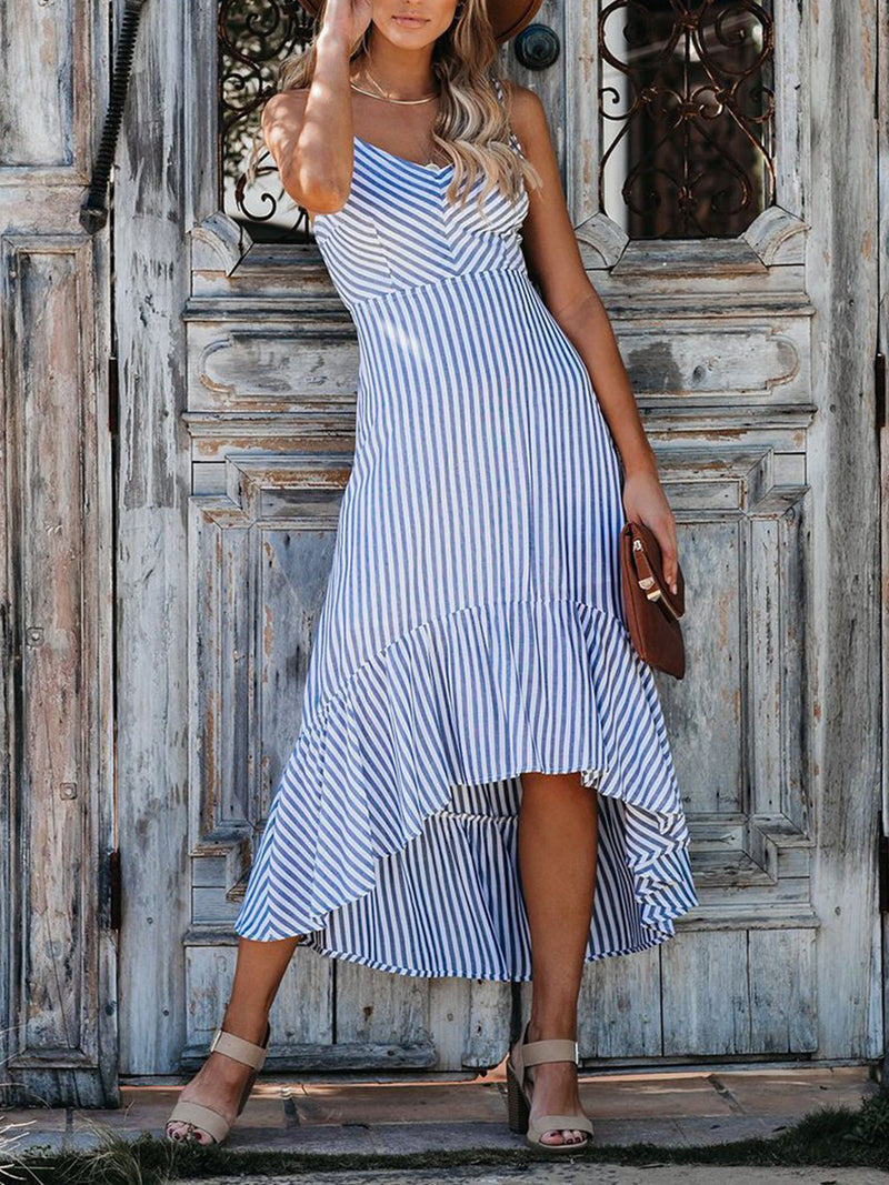 Light Blue Striped Midi Dress