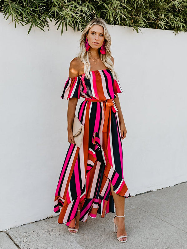 Vacation Off Shoulder Striped Belt Maxi Dress