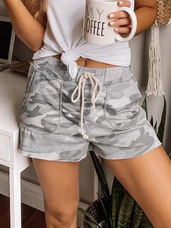 Casual Camo Print Drawstring Shorts