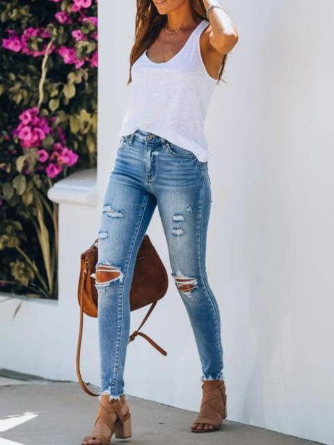 Casual Hole Slim Trousers Jeans