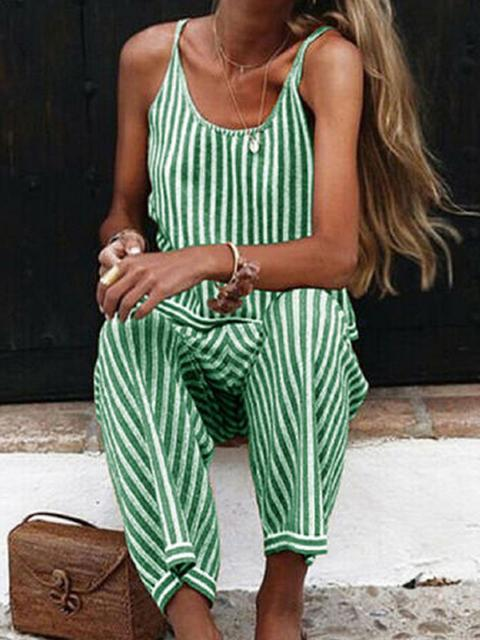 Casual Stripes Spaghetti Strap Jumpsuit