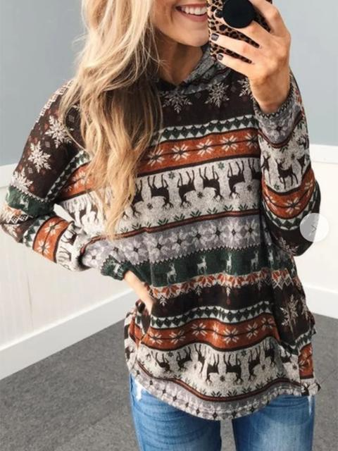 Christmas Elk Print Hooded Casual Top