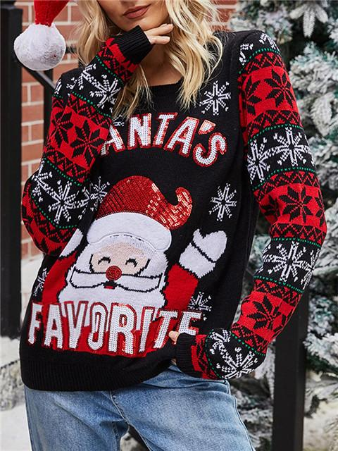 Christmas Santa Embroidered Sequin Sweater