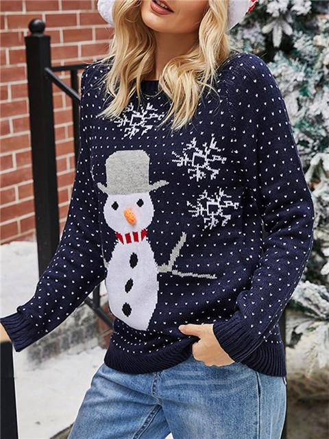 Christmas Snowman Pattern Casual Sweater