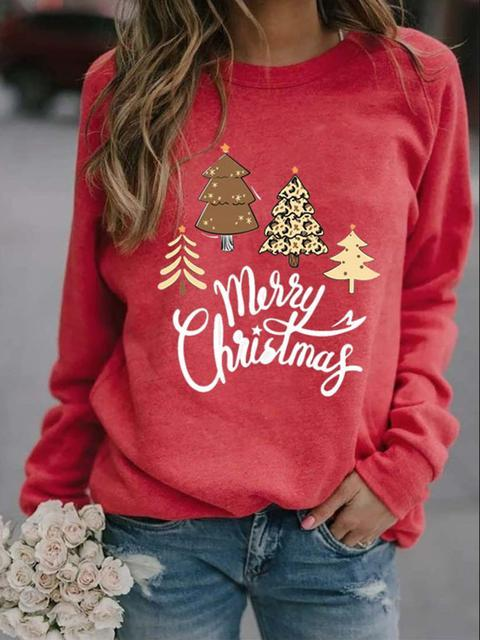 Christmas Tree Letter Print Crew Neck Pullover