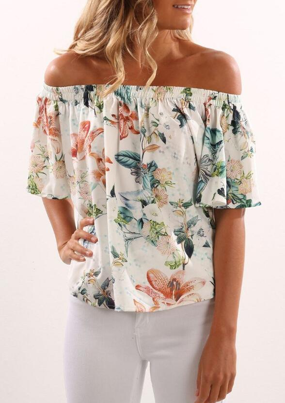 Floral Off Shoulder Blouse Irregular Hem - Landing Closet