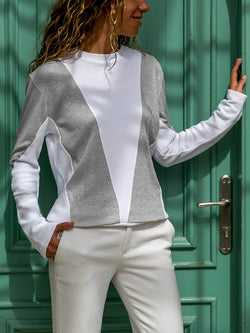 Long Sleeves Round Neck Stitching Top