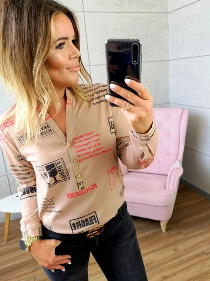 V-neck Long Sleeves Button Letters Printed T-shirt Blouse Top
