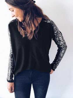 V-neck Stitching Sequin Top