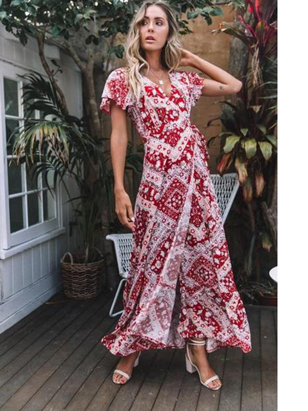 Floral V-neck Open Front Maxi Dress