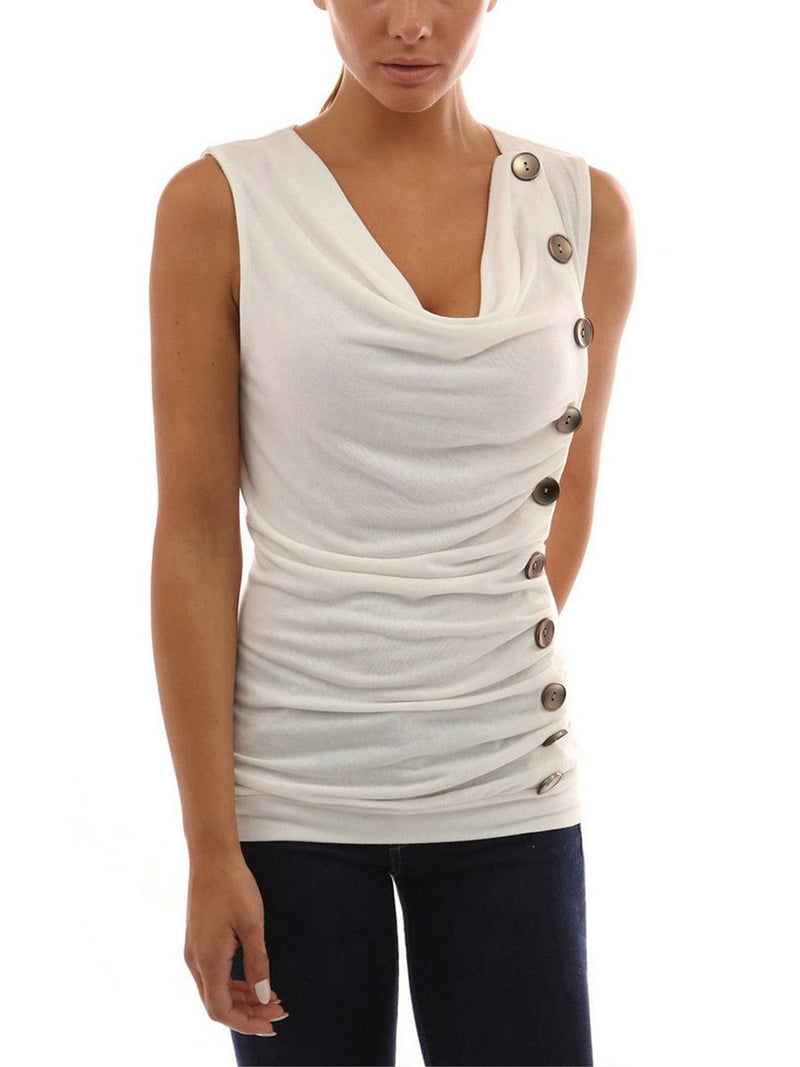 Round Neck Sleeveless Buttons Top T-shirt