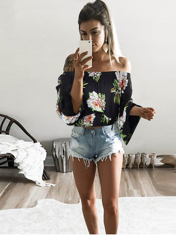 Off Shoulder Floral T-shirt Top