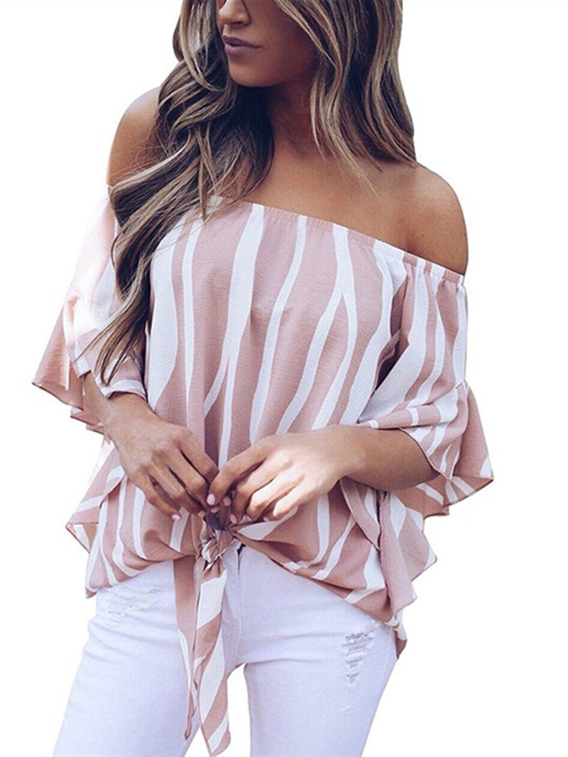 Off Shoulder Loose Fit Short Sleeves Stripes T-shirt Top